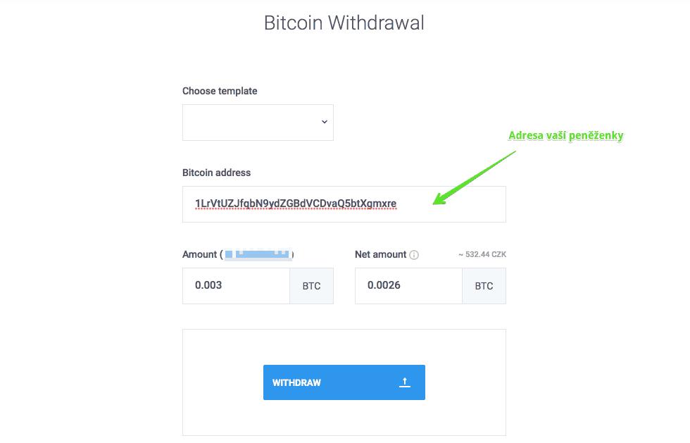 Poslaní kryptoměn z CoinMate